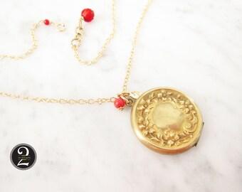 Antique gold locket, Repousse floral locket,  Two Girls Gems