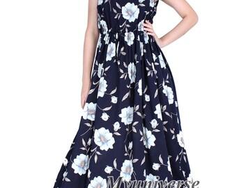 Cotton Maxi Dress Sundress Women Plus Size Dress Clothing With Pockets Dress Hanky Dress Full Length Long Hawaiian Dress Summer Blue Floral