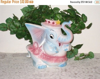 Vintage 1950s Napco Ceramic Baby Girl Circus Elephant Nursery Planter / Trunk Up / Baby Shower Gift / Nursery Decor