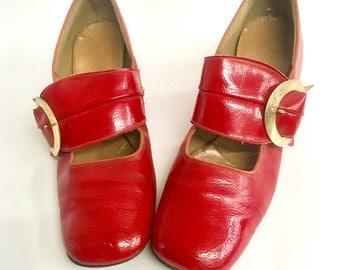 60s Mod Dollybird Candy Apple Red Patent Leather MaryJanes
