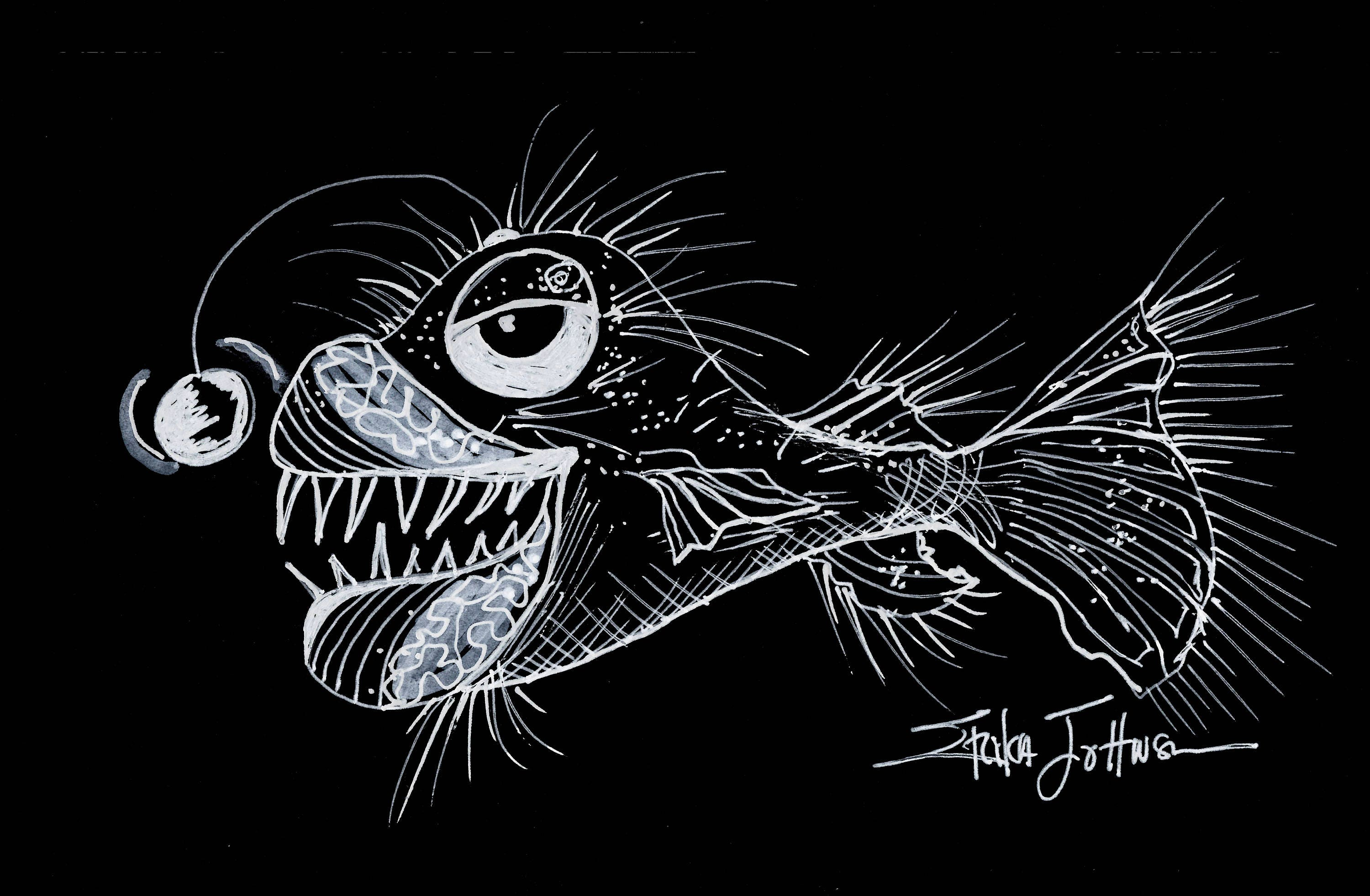 Goofy Lantern Fish Original Pen And Ink Drawing Fish Art Art