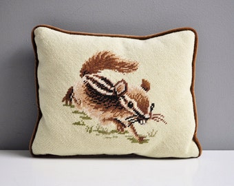Vintage Needlepoint Chipmunk Pillow