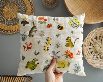 Vintage Crewel Embroidered Animal and Insect Pillow