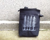 chalk bag, chalkbag, chalkbags, chalk bags, trees, linoprint, handprinted, handcarved, blockprint, rock climbing chalk bag..