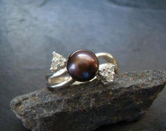 Genuine Black Freshwater Pearl & White Topaz Ring, Solid 925 Sterling Silver, June Birthstone, Alternative Engagement Ring, Gifts For Her