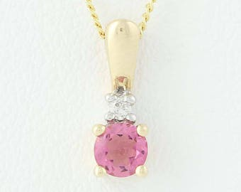 "Pink Tourmaline & Diamond Pendant Necklace Set - 10k Yellow Gold 17"" 0.17ct N9262"