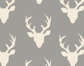 Buck Forest Mist Cotton Fabric  / Fabric By the Yard or Half Yard / Hello Bear, Art Gallery Fabric, Nature Fabric, Deer Fabric