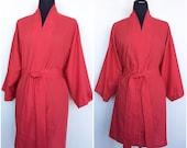 Cotton Blend Kimono In Red