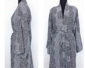 Silky Kimono In Black And White Graphic Print