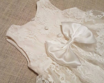 Lucia Baby ivory christening heirloom lace gown dress with bow back floor length sleeveless baptism flower girl short