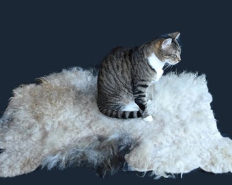 Cruelty Free, Icelandic, Wool Cat Bed, Pet Bed, Dog Bed, Felted Fleece, EcoFriendly, Ethical Sheepskin, Made in  US, Pet Blanket, Throw Rug