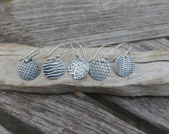 Everyday Silver Earrings -- Petite Fine Silver (.999) Disc Earrings. Animal Print Silver Disc Earrings. Hammer Textured and Oxidized.