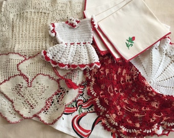 Asst 11pc vintage antique Red theme linen lot doilies linens coordinated perfect for altered couture or retro decor