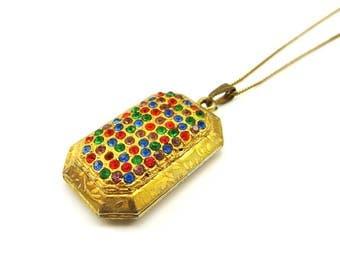 Vintage Gold Locket Necklace Fruit Salad Rhinestone Pendant Necklace Art Deco Revival, Green Glass, Blue Glass, Paste Stones, Gift For Her