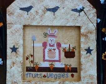 50%OFF Fanci That Primitive MRS. FARMER Hare Folk Art - Counted Cross Stitch Pattern Chart