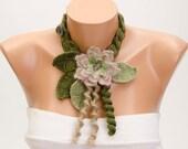 Crochet colar scarf, long scarf ,crochet flowered necklace scarf