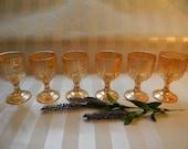 """IRIS & HERRINGBONE, (6) Iridescent 4"""" Wine Glasses"""