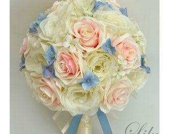 "17 Piece Package Wedding Bridal Bride Maid Of Honor Bridesmaid Bouquet Silk PETAL STEEL BLUE Blush Periwinkle ""Lily Of Angeles"" VIBL01"