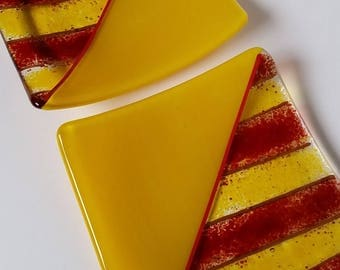 Yellow and Red Glass Dishes - Set of Two