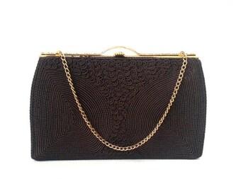 20% OFF Vintage Purse, 1950s Brown Purse, Vintage Brown Purse, Retro 50s Purse, Corded Purse, Cordé Bag, Vintage Handbag, 50s Handbag, Brown