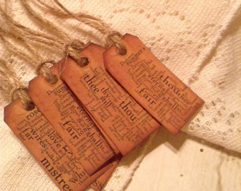 Grunge Shakespeare Sonnets Mini Tags, Gift Tags, Wedding Favors, Bridal Shower Favors, Packaging, Gift Wrap, Jute Rope Set of 6, Size 2x1
