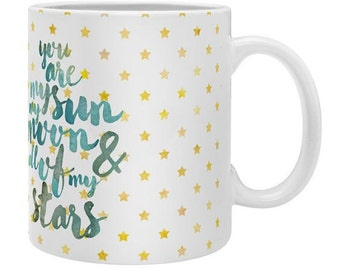Unique coffee mug You Are My Sun Moon Stars, inspirational gift mug for girlfriend mum sister, christmas present apartment housewarming gift