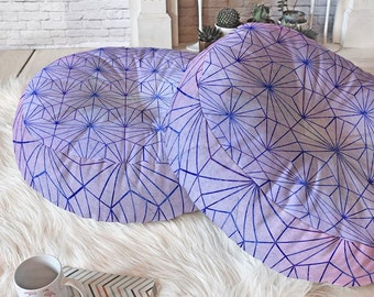 Geometric Amethyst floor pillow meditation cushions, lilac purple lavender home decor accessory, round indian poufs movie date night pillows