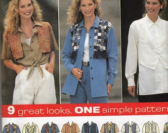 Simplicity 7515 Women's Sewing Pattern 1990's Button Down Top with Mock Vest Size 12-14-16 Bust 34-36-38""