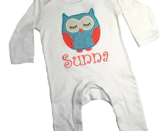 Baby bodysuit, PJ's, Pyjama's, owlie, sleeping owl, applique owl, personlized, name embroidery, birthgift, personalized gift, baby gift