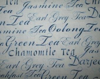 Tea Words Variety Teas Drinks Blue Cotton Fabric Fat Quarter or Custom Listing