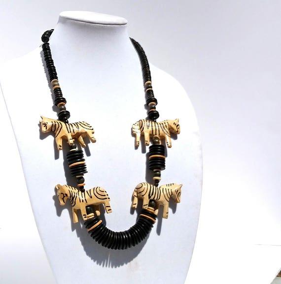 Hand Carved Wooden Zebra Necklace from Kenya