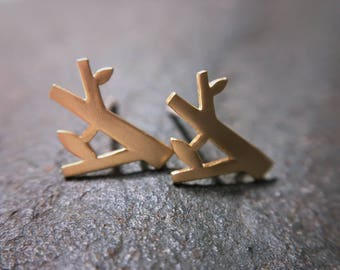 Gold or silver mini tree stud earrings