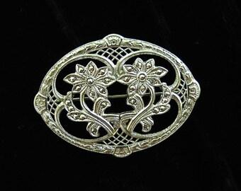 Vintage Sterling Marcasite Brooch Floral Filigree Openwork
