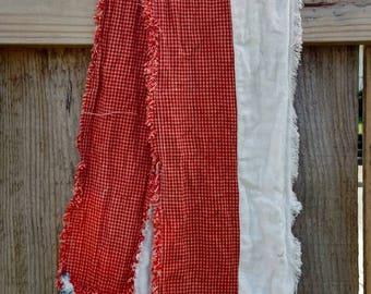 "New Item Extra Long 67"" x 7"" Handmade Rag Quilt Table Runner 2 layers reversible same on both ends & sides USA Flag Table Runner"