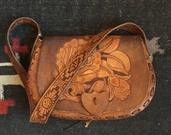 Brown Floral Tooled Leather Handbag w/ Reconstructed Shoulder Strap