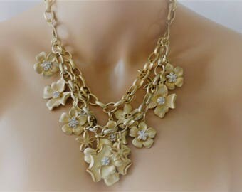 SALES -Bib Necklace, Flower Necklace, Gold and crystal necklace, Gift for her, One of the kind, Gold flower necklace, Dangle Flower Necklace