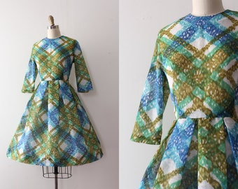 vintage 1950s dress // 50s green and blue dress