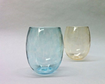 Stemless Wine Glass in Pale Blue / Home Decor / Holiday Entertaining / Beach Sea Glass Colors