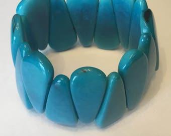 Tagua Nut Bracelet/ Blue Turquoise Bracelet / Ecofriendly / Ecofashion