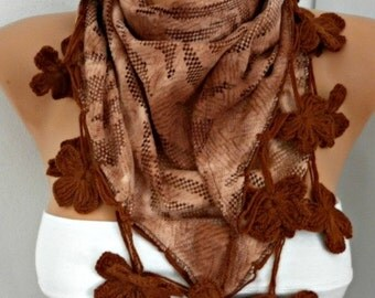 ON SALE --- ON Sale - Earth Tones - Brown Floral Scarf,Fall Winter Scarf,Bohemian,Christmas,Holiday Gift,Women Scarves
