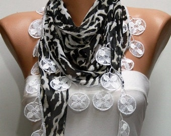 ON SALE --- Black & White Zebra Print  Scarf Shawl Scarf  Cowl Scarf Gift Ideas For Her  Women Fashion Accessories  - fatwoman