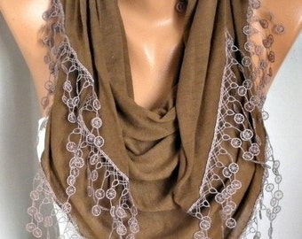 ON SALE --- Milky Brown Shawl Scarf -  Cowl,Gift for her,Women scarves,fashion accessories