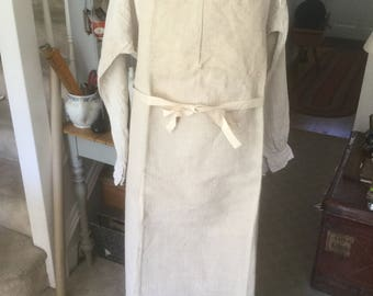 Antique Herringbone linen French work/chore apron