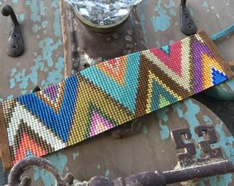 Multi color abstract wide beaded leather bracelet - Alpine - colorful fringe tassel friendship bracelet boho by slashKnots
