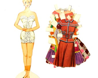 "Vintage Paper Doll ""Judy"" with Clothing, 11 pieces (c.1940s) - Doll Ephemera, Collectible Doll, Paper Projects"