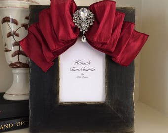 Picture Frame with Bow Wedding Bridal Portrait Personalize Gift Idea Bridal Registry Formal Portrait Christmas Wedding Family Ebony Black