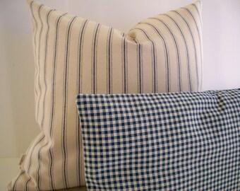 Farmhouse Pillow Blue Ticking Pillow Cover Ballard Designs Pillow Vintage Ticking Pillow