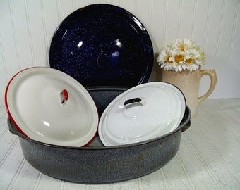 Vintage Replacement Lids or Grey Graniteware Roasting Pan Large Navy Spatterware Lid or White with Red Bucket Lid or White and Black Pot Lid