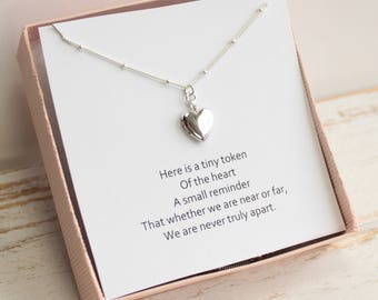 Tiny Sterling Silver Heart Locket Necklace with Sentiment Card