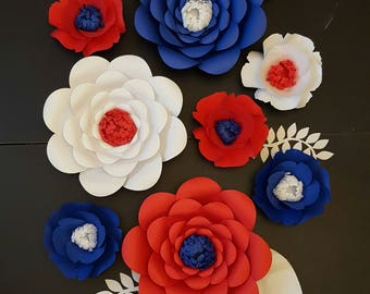Large Red White Blue Paper Flowers Set of 8 Medium Paper Flower Photo Prop Backdrop Decor DIY Backdrop RTS